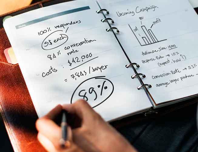 bilježnica s raspisanim troškovima